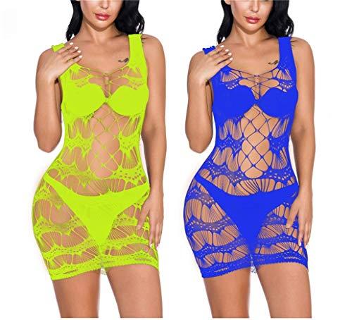 NAVARCH Ropa Interior Rayada de Las Mujeres 2 Pack Mallas Mini Vestido Ropa de Dormir Sexy Crochet Malla Mini Vestido Chemise
