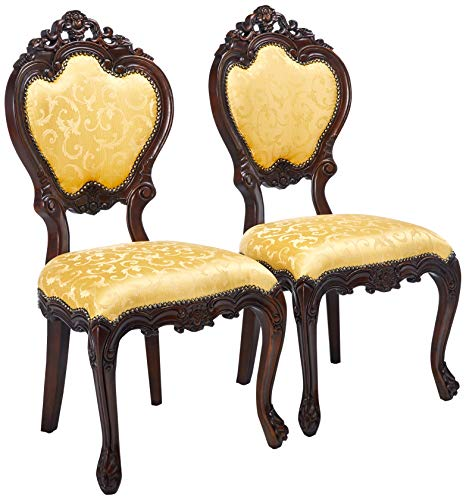 Design Toscano Lady Ambrose Shield Back Chair: Set of Two, Cherry