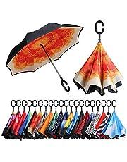Amazon Brand - Eono Paraguas Invertido de Doble Capa, Paraguas Plegable de Manos Libres Autoportante,Paraguas a Prueba de Viento Anti-UV para la Lluvia del Coche al Aire Iibre - Flor Naranja