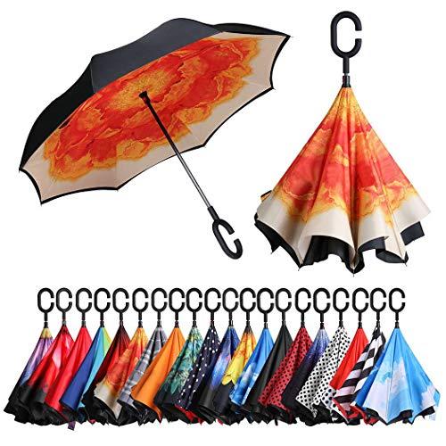 Eono by Amazon - Inverted Stockschirme, Winddicht Regenschirm, Reverse Stockschirme mit C Griff, Selbst Stehend, Double Layer, Schützen vor Sturm Wind, Regen und UV-Strahlung, Orangene Blume