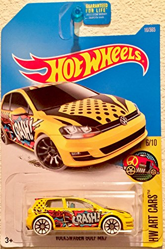 Hot Wheels, 2017 HW Art Cars, Volkswagen Golf MK7 [Yellow] 16/365