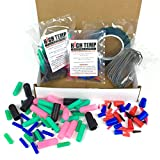 124 Piece High Temp Silicone Plug, Cap, Masking Tape and Hook Assortment - Complete Masking System Kit for Powder Coating, Painting, Anodizing, Plating & Media Blasting