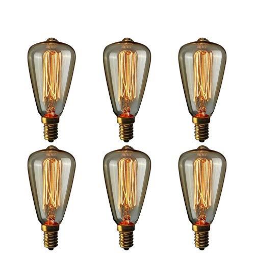 TINS 6 x E14 Lampadina Vintage Edison,Lampadina a incandescenza a incandescenza 40W ST48 Old Retro Nostalgia industriale Lampadina a incandescenza 2200 K bianca calda a filamento,Confezione da 6
