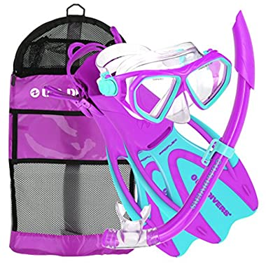 U.S. Divers Dorado JR Mask Fins Snorkel Set, Fun Purple, Small