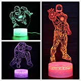 3D LEDイリュージョンナイトライト7色スーパーヒーローアイアンマンスパイダーマンキャプテン (Iron Man)
