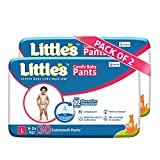 Little's Baby Pants Diapers with Wetness Indicator and 12 Hours Absorption, Large (L), 9-14 kg, 60 Count