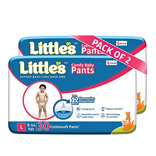 Little's Baby Pants Diapers with Wetness Indicator and 12 Hours Absorption, Large (9 - 14 kg), 60 Count