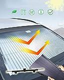 Kwak's Parasol Automática Plegable para el Coche Bloqueador de Rayos Solares Potente Ventosa Protección Solar para Enfriar el Coche Sombrilla Telescópica del Parabrisas del Coche(80 cm)