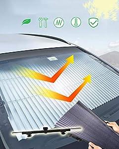 Kwak's Parasol Automática Plegable para el Coche Bloqueador de Rayos Solares Potente Ventosa Protección Solar para Enfriar el Coche Sombrilla Telescópica del Parabrisas del Coche(70 cm)