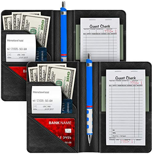 Syntus 2 Pack Waiter Book Server Wallet for Waitress Server Pads Waitress Book Restaurant Waitstaff Organizer, Guest Check Book Holder Money Pocket Fit Server Apron with Big Volume (Black)