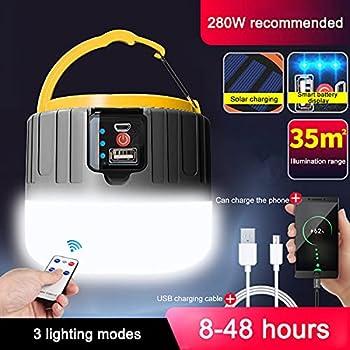 Lampe de Camping LED Rechargeable par USB, Lampe Solaire, 5200 mAh Batterie Externe, IPX6 Étanche, 5 Modes SOS, Étanche, Portable, Lampe de Camping, Super Lumineuse, Durable(Noir)