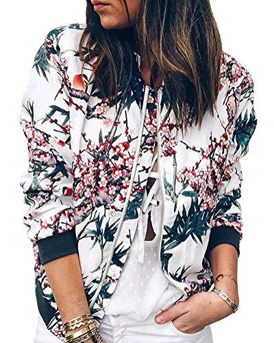 Minetom Damen Frühling Blouson Mode Floral Baseball Mantel Tops Coat Bomberjacke Bikerjacke Reißverschluss Fliegerjacke Kurzjacke 01 Blau DE 40