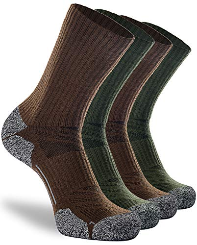 Work Socks for Men Women 4-Pack, Crew Boot Socks for Hiking Trekking Backpacking Hunting Walking Travel Outdoor Athletic, Full Cushion Moisture Wicking Heavy Soft Arch Compression, Large, Green Brown