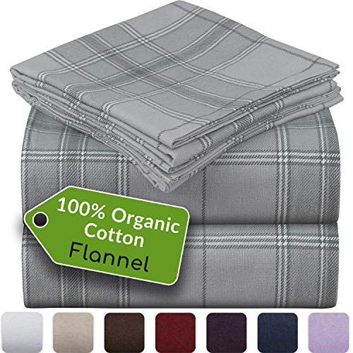 Mellanni 100% Organic Cotton Flannel Sheet Set - Heavyweight 180GSM 4 pc Printed Luxury Bed Sheets - Cozy, Soft, Warm, Breathable Bedding - Deep Pockets - All Around Elastic (King, Light Gray Plaid)