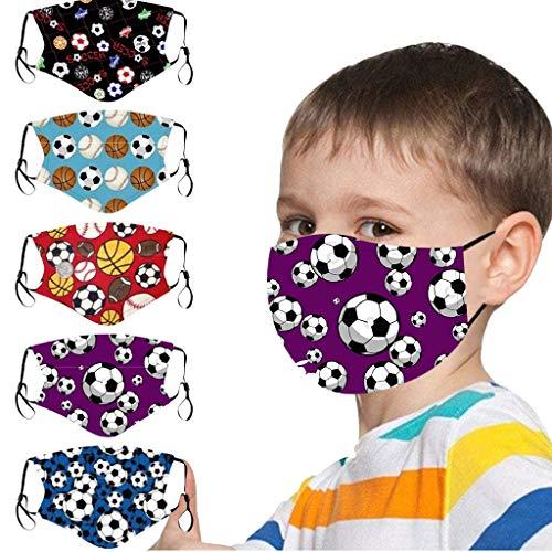 5 Stück Mundschutz Kinder Multifunktionstuch 3D Cartoon Druck Maske Animal Print Atmungsaktive Baumwolle Stoffmaske Waschbar Mund-Nasenschutz Bandana Halstuch für Jungen Mädchen (K2)