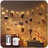 Foto Clip Cadena de Luces 5M 40LED Colgar Fotos Guirnalda de Luces, 8 Modos d...