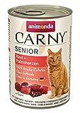 Comida para gatos animonda Carny Senior, comida húmeda para gatos a partir de 7 años, vacuno + corazón de pavo, 6 x 400 g