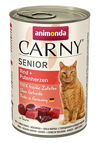 animonda Katzenfutter Carny Senior, Nassfutter für Katzen ab 7 Jahren, Rind + Putenherzen, 6 x 400 g