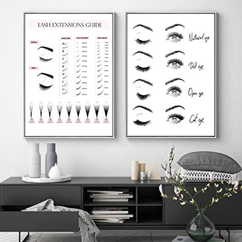 Preisvergleich Produktbild ThinkingPower Wandkunst Augenbrauen Wimpern Techniker Leitfaden Poster Drucke Make-up Leinwand Malerei Wimpern Business Beauty Studio 50 x 70 cm x2 Rahmenlos