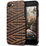 Tasikar Funda iPhone SE 2020 / Funda iPhone 8 / Funda iPhone 7 Funda Híbrida de Madera y TPU Compatible con iPhone 7/8 / SE 2020 (Cuero & Madera)