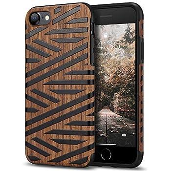Tasikar Compatible with iPhone SE 2020 Case/iPhone 7 Case/iPhone 8 Case Easy Grip with Wood Grain Design Slim Hybrid Case  Leather & Wood