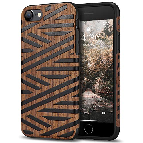 Tasikar Compatible with iPhone SE 2020 Case/iPhone 7 Case/iPhone 8 Case Easy Grip with Wood Grain Design Slim Hybrid Case (Leather & Wood)