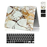 RYGOU 2 in 1 Marble Pattern Hard Case Rubberized Coating Soft Skin with Keyboard Cover for Apple Macbook Pro 13 inch (with CD-ROM) Model: A1278