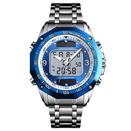 AZPINGPAN Solar Digital/Pointer para Hombre Reloj Deportivo, Reloj de Pulsera electrónico empresarial de Doble Movimiento, Cinturón de Acero Resistente al Agua 30M Relojes multifunción