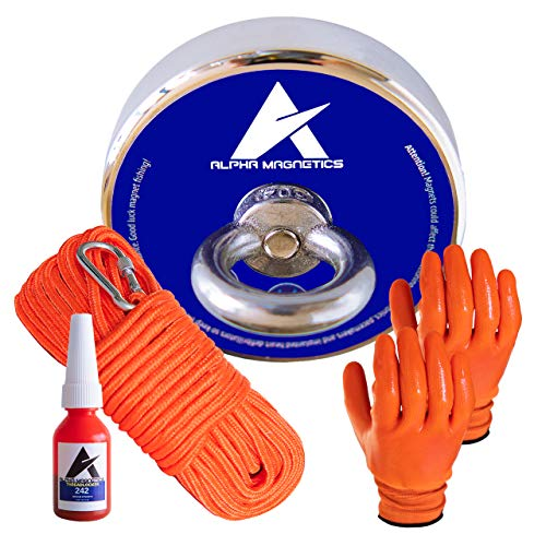 630lb Industrial Super Magnet Fishing Kit Bundle Pack - Includes 8mm 100ft High Strength Nylon Rope with Carabiner, Non-Slip Rubber Gloves, Threadlocker & Strong Pulling Force Rare Earth Magnet