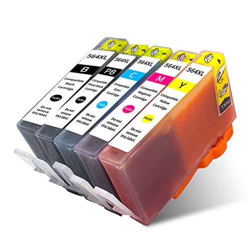 Cartucho de tinta compatible HP564XL, color negro y negro para HP564XL para usar con impresora HP C5324 C5370 C5373 C5380 C5383 C5388