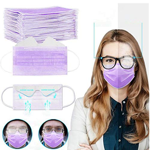 Gokeop Breathable 3-Ply Disposable Face_masks Bandanas Anti-fog for People Who Wear Glasses, Outdoors Face Protection, Prevent Glasses from Fogging (50Pcs, Purple)