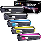 Forcolor Compatible Toner Cartridge Replacement for Brother TN221 TN225 TN-221 TN-225 Used with MFC-9340CDW 9330CDW 9140CDN MFC-9330 HL3140CW Printer (2Black, 1Cyan, 1Magenta, 1Yellow) 5 Pack