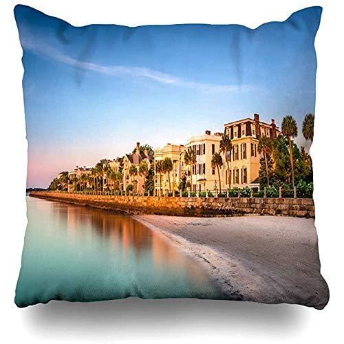 Fodera per cuscino per cuscino Federa Batteria Charleston Carolina del Sud Stati Uniti d'America Skyline storico Parchi Spiaggia Centro città costiera Design Acqua Design per la casa Design Quadrato