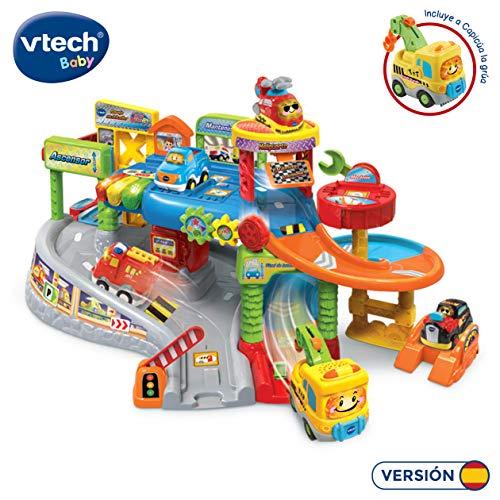 VTech - Garaje Multitaller TutTut Bólidos, Playset Taller Mecánico con diferentes pistas y niveles con Luces, voces, canciones y sonidos divertidos, incluye vehículo Capicúa la grúa