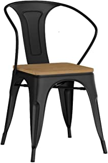 Wp-dz Wrought Iron Dining Chair Lounge Chair, Vintage Industrial Wind Chair, Ergonomic Backrest Sturdy Frame, Suitable for Restaurants, Bars, Bookstores (Color : B)