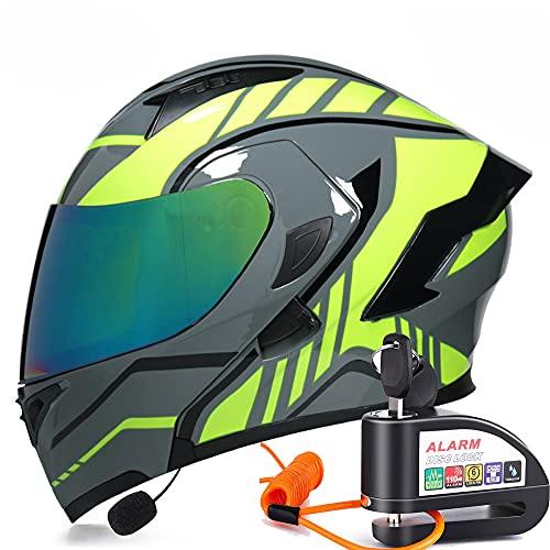 Casco Moto Modular Integral con Doble Visera+Candado Moto Antirrobo con Alarma, para Motocicleta Scooter,E,M(57~58CM)