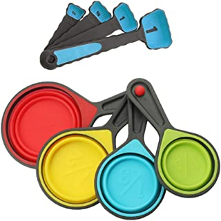8pcs Collapsible Portable Silicone Measuring Cups and Spoons Set Kitchen Measuring Tool for Liquid Dry Measuring (Blue)
