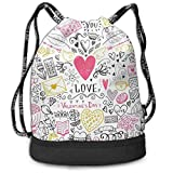 zhangyuB Valentine's Day Love Flowers Confession Bolsa con cordón Traveling Sport Daypack Large Capacity Beam Backpack, Home Travel Storage Use Gift For Men & Women, Girls Boys
