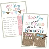 Gender Reveal Party Supplies Decorations - Game Posters Old Wives Tales Baby Prediction and Boy or Girl Scoreboard Shabby Chic 16x20 inches- Baby Shower Gender Reveal Games and Decorations All in One