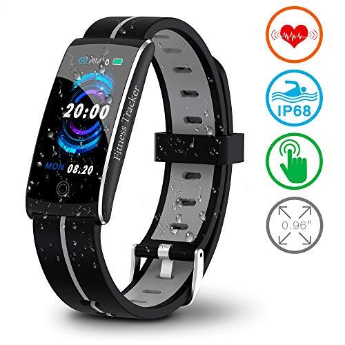 Fitnessarmband met hartslagmeter, fitnesstracker, hartslagmeter, smart armband, horloge, waterdicht IP68, activiteitstracker met bloeddrukmeter, stappenteller, slaapmonitor, voor dames en heren, iPhone en Android