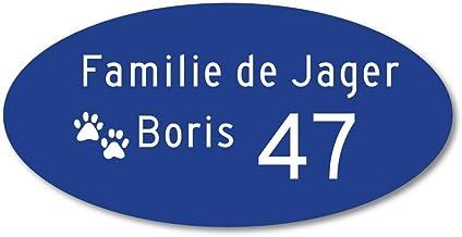 Naamplaatje blauw ovaal t.b.v. brievenbus, 12x6 cm