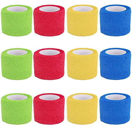 Elastische Bandage Athletic Tape, 12 Rollen 4 Farben Medizinische Selbstklebende Bandage Für Handgelenke, Finger, Handflächen, Knie, Waden, Zehen