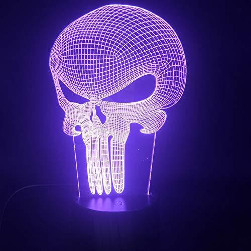 Antihelden Schädel Punisher Frank Castle Lautsprecher 3D LED Nachtlicht USB Tischlampe Kinder Geburtstagsgeschenk Nachtdekoration am Bett