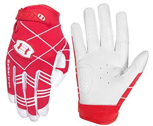 Seibertron B-A-R PRO 2.0 Signature Baseball/Softball Schlagmann Batting Handschuhe Gloves Super Grip Finger Fit for Erwachsener Red M