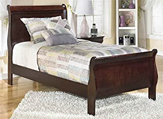 Ashley Express Twin Sleigh Bed in Dark Brown Finish