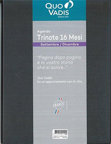 Agenda Quo Vadis Settimanale Trinote 16 Mesi 2019-2020 Nera