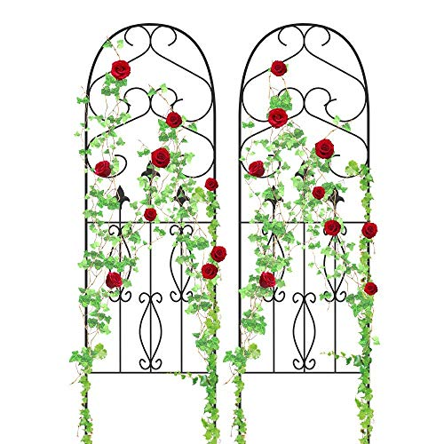 Amagabeli Garden Trellis 60' x 18' Rustproof Black Iron Potted Vines Vegetables Flowers Patio Metal Wire Lattice Grid Panels for Ivy Roses Cucumbers Clematis Supports 2 Pack