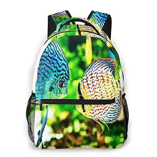 Sacs Scolaires Cartables Enfant Sac à Dos Garçon Cabas écolier Fish Symphysodon Discus Aquarium, Casual Sac Ecole Fille Animaux Sac A Dos College