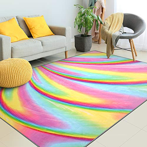 Kids Rugs for Girls Bedroom, Kids Rainbow Area Rugs Carpet with Non Slip and Fluffy Soft Design for Kids Play Room, Nursery, Toddler and Home Decor(5 x 6.5 Feet)