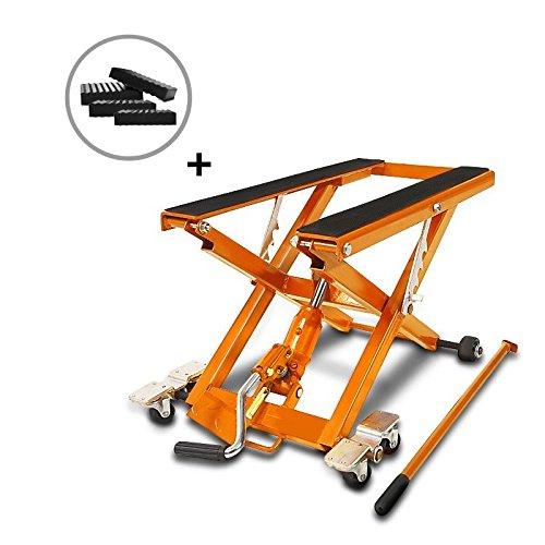 ConStands-Motorrad Hebebühne Scherenheber Hydraulisch XL inkl. Distanzstücke 500 kg Orange